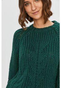Zielony sweter Answear Lab długi, wakacyjny, na co dzień, z długim rękawem