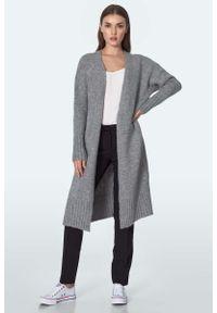 Nife - Długi Niezapinany Sweter z Wysokim Ściągaczem - Szary. Kolor: szary. Materiał: akryl, nylon. Długość: długie