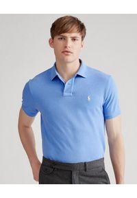 Niebieskie polo z krótkim rękawem Ralph Lauren z haftami, długie, polo