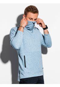 Niebieska bluza Ombre Clothing ze stójką