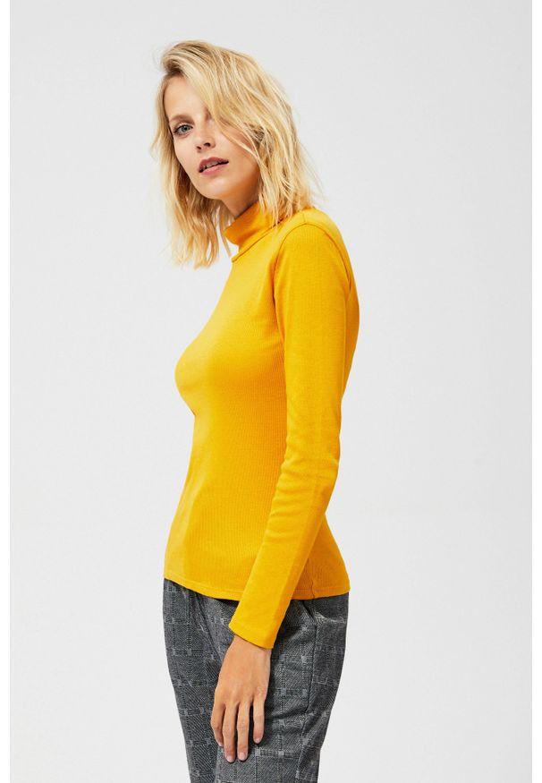 Żółta bluzka MOODO długa, z golfem, z długim rękawem
