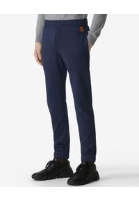 Kenzo - KENZO - Granatowe spodnie jogger Tiger Crest. Kolor: niebieski. Materiał: bawełna, dresówka. Wzór: aplikacja