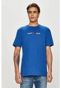 Niebieski t-shirt Tommy Jeans casualowy, z aplikacjami, na co dzień