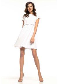 Tessita - Biała Lekka Zwiewna Sukienka z Mini Rękawkiem. Kolor: biały. Materiał: elastan, poliester. Długość rękawa: krótki rękaw. Długość: mini