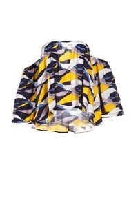 Born2be - Granatowo-Żółta Bluzka Adreney. Kolor: niebieski. Długość: krótkie. Wzór: kolorowy. Sezon: lato, wiosna