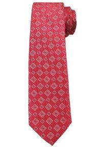 Czerwony krawat Angelo di Monti w geometryczne wzory, elegancki