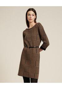 Luisa Spagnoli - LUISA SPAGNOLI - Wełniana dwustronna sukienka Molleggio. Kolor: brązowy. Materiał: wełna. Długość: mini