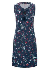 Sukienka shirtowa z nadrukiem, bez rękawów bonprix ciemnoniebieski. Kolor: niebieski. Długość rękawa: bez rękawów. Wzór: nadruk. Styl: elegancki