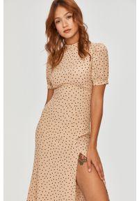 Beżowa sukienka Answear Lab w grochy, z krótkim rękawem, wakacyjna