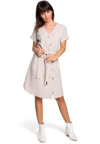Beżowa sukienka wizytowa MOE szmizjerki, z krótkim rękawem