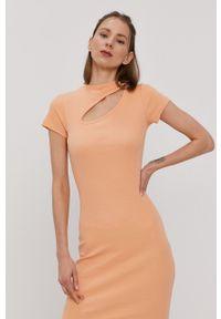 only - Only - Sukienka. Kolor: pomarańczowy. Materiał: bawełna, dzianina. Długość rękawa: krótki rękaw. Wzór: gładki. Typ sukienki: dopasowane