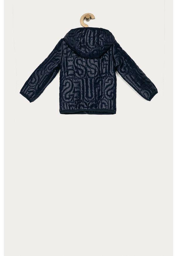 Niebieska kurtka Guess Jeans z kapturem, casualowa, na co dzień