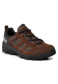 Brązowe buty trekkingowe Jack Wolfskin trekkingowe, z cholewką