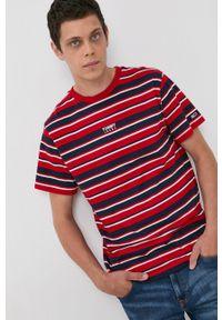 Tommy Jeans - T-shirt bawełniany. Okazja: na co dzień. Kolor: czerwony. Materiał: bawełna. Styl: casual