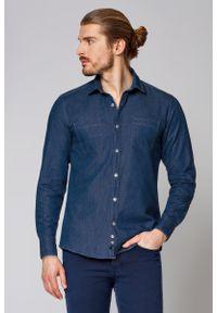 Niebieska koszula casual Lancerto z klasycznym kołnierzykiem, w kolorowe wzory, na co dzień