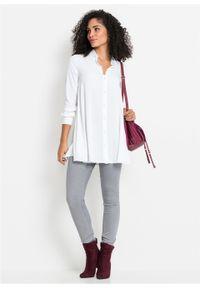 Biała bluzka bonprix długa, elegancka, z dekoltem w serek