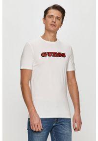 Guess - T-shirt. Okazja: na co dzień. Kolor: biały. Styl: casual