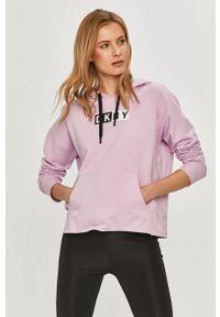 Fioletowa bluza DKNY z długim rękawem, z nadrukiem, długa
