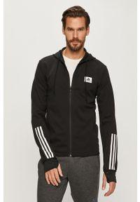 Czarna bluza rozpinana Adidas casualowa, z kapturem