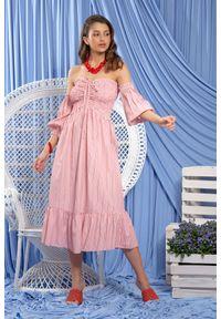Fobya - Letnia Midi Sukienka w Stylu Boho w Paski. Materiał: bawełna. Wzór: paski. Sezon: lato. Styl: boho. Długość: midi