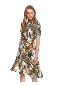 TOP SECRET - Koszulowa sukienka z roślinnym nadrukiem. Typ kołnierza: kołnierzyk klasyczny. Kolor: szary. Wzór: nadruk. Typ sukienki: koszulowe. Materiał: materiał. Długość rękawa: krótki rękaw. Sezon: lato. Styl: klasyczny. Długość: midi