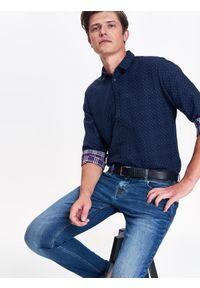 Niebieska koszula TOP SECRET w kratkę, na zimę, z krótkim rękawem, elegancka