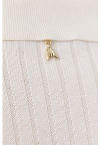 Patrizia Pepe - Sweter z domieszką wełny. Kolor: biały. Materiał: wełna. Długość rękawa: długi rękaw. Długość: długie
