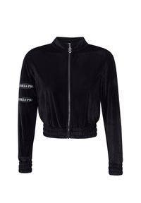 CUORI e PICCHE - Czarna bluza z suwakiem Mito High. Kolor: czarny. Materiał: żakard, materiał. Długość rękawa: długi rękaw. Długość: długie. Wzór: aplikacja