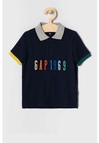 Niebieski t-shirt polo GAP polo, z aplikacjami