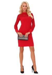 Merribel - Czerwona Elegancka Wizytowa Sukienka z Transparentnym Rękawem. Kolor: czerwony. Materiał: poliester. Styl: wizytowy, elegancki
