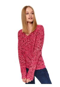 Różowy sweter TOP SECRET z dekoltem w serek, na co dzień
