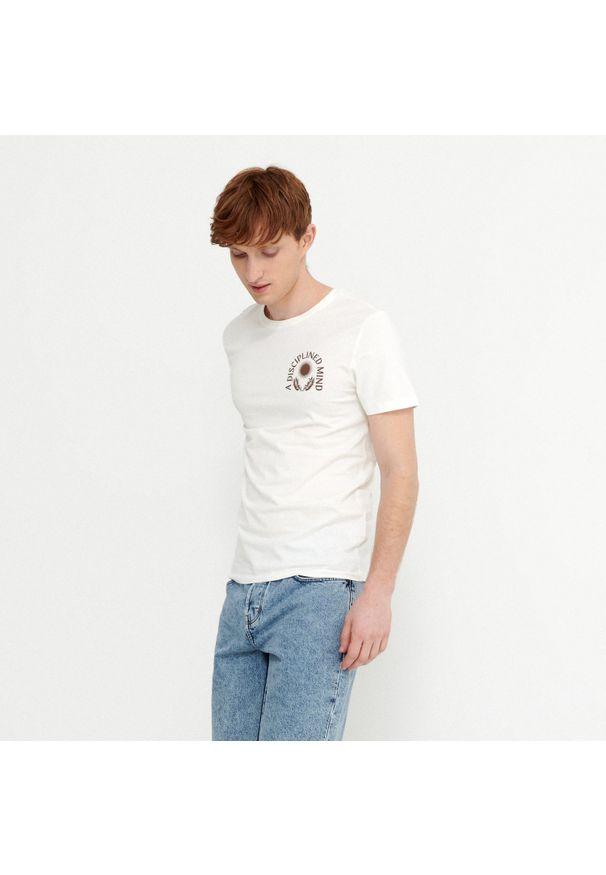 House - Koszulka z nadrukiem Disciplined Mind - Kremowy. Kolor: kremowy. Wzór: nadruk