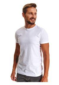 TOP SECRET - T-shirt z gładkiej dzianiny z wrobieniem. Okazja: do pracy, na co dzień. Kolor: biały. Materiał: dzianina. Długość rękawa: krótki rękaw. Długość: krótkie. Wzór: gładki. Sezon: zima. Styl: klasyczny, casual