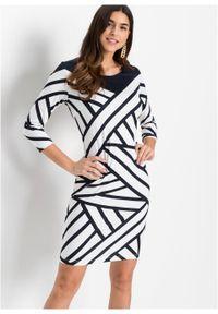 Sukienka z dżerseju bonprix ciemnoniebiesko-biały w graficzny wzór. Kolor: niebieski. Materiał: jersey. Typ sukienki: dopasowane. Styl: elegancki