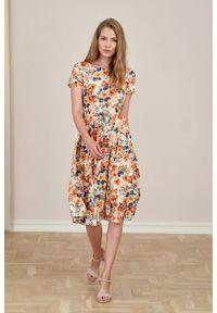 Marie Zélie - Sukienka Melania Caneton kremowa. Kolor: kremowy. Materiał: wiskoza, skóra, materiał. Długość rękawa: krótki rękaw