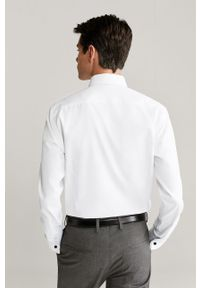 Biała koszula Mango Man elegancka, z włoskim kołnierzykiem, długa