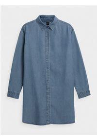 outhorn - Długa koszula jeansowa damska. Okazja: na co dzień. Materiał: jeans. Długość rękawa: długi rękaw. Długość: długie. Wzór: aplikacja. Styl: casual