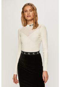 Biały sweter Karl Lagerfeld klasyczny, z długim rękawem