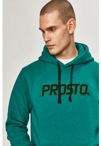 Zielona bluza nierozpinana Prosto. z aplikacjami, casualowa, z kapturem