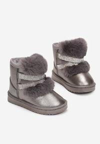 Born2be - Srebrne Śniegowce Yrelienne. Wysokość cholewki: za kostkę. Nosek buta: okrągły. Zapięcie: bez zapięcia. Kolor: srebrny. Materiał: futro. Szerokość cholewki: normalna. Wzór: aplikacja