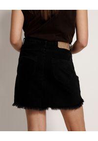 ONETEASPOON - Czarna spódnica Vanguard. Kolor: czarny. Materiał: bawełna, jeans. Wzór: aplikacja. Styl: rockowy
