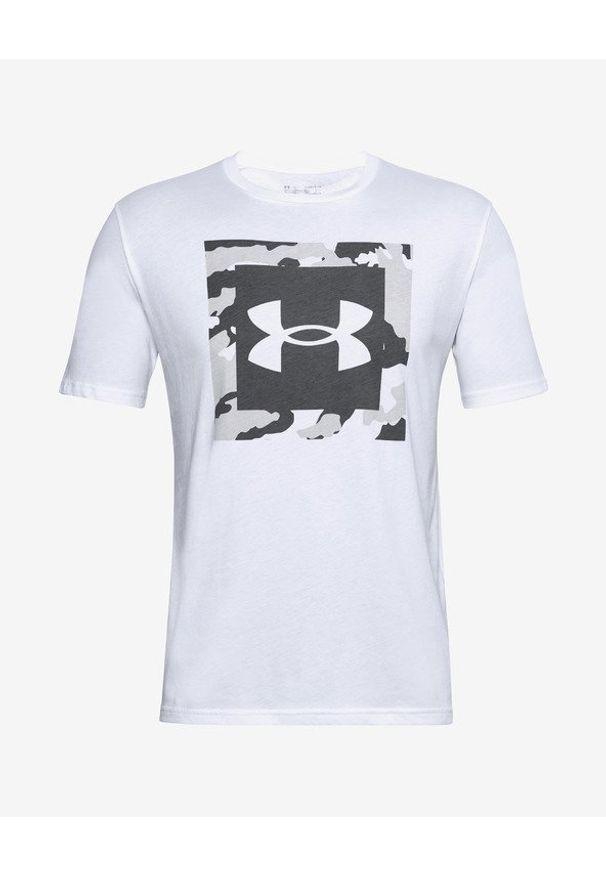 Biały t-shirt Under Armour z nadrukiem, z okrągłym kołnierzem