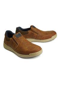 Rieker - RIEKER B5860-25 brown, półbuty/mokasyny męskie. Kolor: brązowy. Materiał: skóra, guma. Szerokość cholewki: normalna