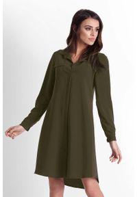 IVON - Khaki Rozkloszowana Sukienka Koszulowa z Paskiem. Kolor: brązowy. Materiał: poliester, elastan. Typ sukienki: koszulowe