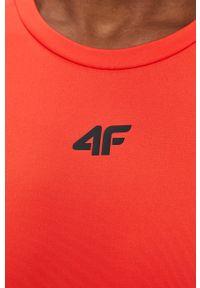 4f - 4F - T-shirt. Kolor: czerwony. Materiał: włókno, dzianina. Wzór: gładki