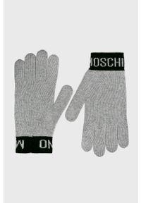 Szare rękawiczki MOSCHINO
