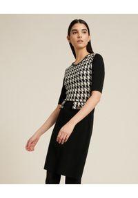 Luisa Spagnoli - LUISA SPAGNOLI - Wełniana sukienka Molinella. Typ kołnierza: dekolt gorset. Kolor: czarny. Materiał: wełna. Typ sukienki: gorsetowe