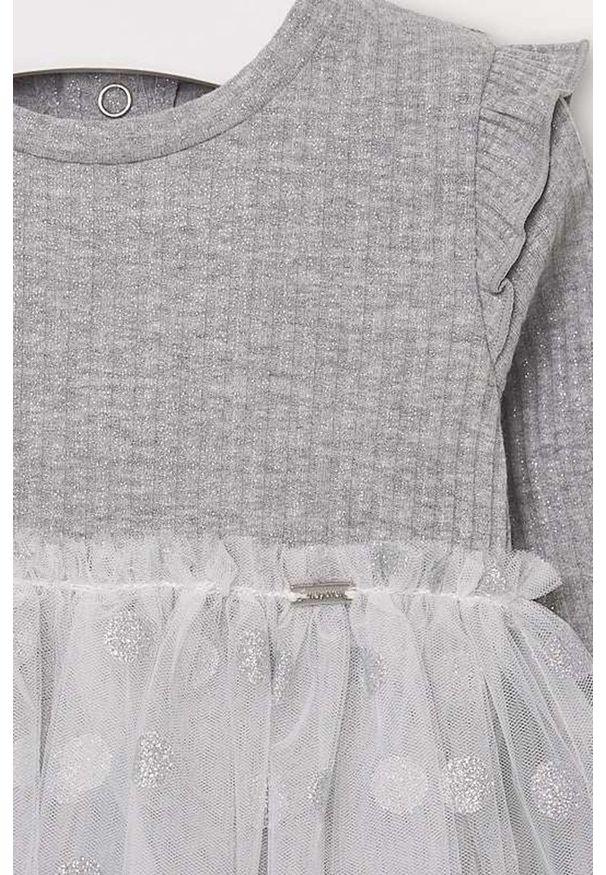 Srebrna sukienka Mayoral z długim rękawem, w grochy