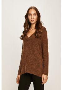 Brązowy sweter Vila na co dzień, casualowy, długi
