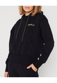 MARLU - Czarna bluza z kapturem. Typ kołnierza: kaptur. Kolor: czarny. Materiał: bawełna. Sezon: jesień. Styl: elegancki, sportowy